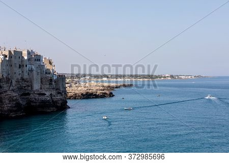 Polignano, Italy - September 17, 2019: View Of Polignano A Mare - Picturesque Little Town On Cliffs