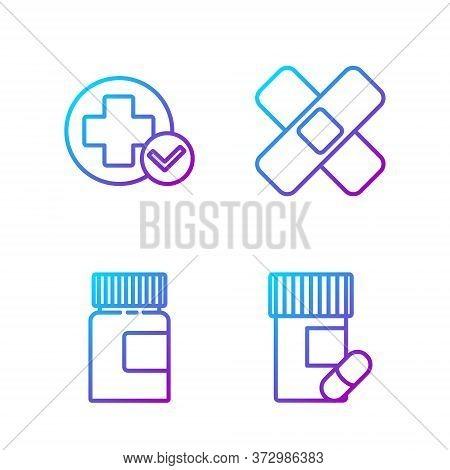 Set Line Medicine Bottle And Pills, Medicine Bottle, Cross Hospital Medical And Crossed Bandage Plas
