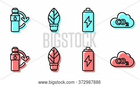 Set Line Battery, Recycling Plastic Bottle, Light Bulb With Leaf And Co2 Emissions In Cloud Icon. Ve