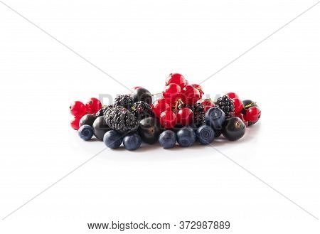 Fruits, Berries Isolated On White Background. Fruits And Berries With Copy Space For Text. Red Curra