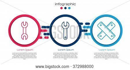 Set Line Wrench Spanner, Wrench Spanner And Crossed Ruler. Business Infographic Template. Vector