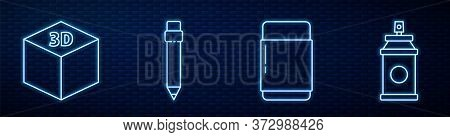 Set Line Eraser Or Rubber, Isometric Cube, Pencil With Eraser And Paint Spray Can. Glowing Neon Icon