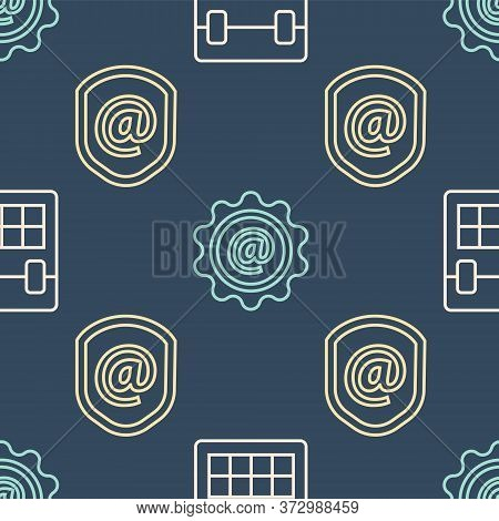 Set Line Calendar, Shield With Mail And E-mail And Mail And E-mail On Seamless Pattern. Vector