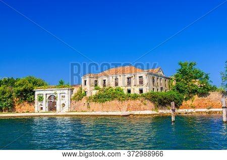 Old Building And Brick Defense Wall Of Fortress Forte San Felice Di Chioggia In Island Near Sottomar