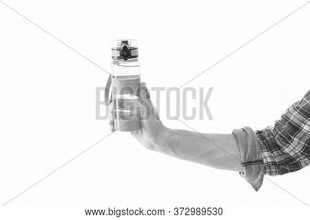 Water Is Best Source Of Hydration. Water Bottle In Male Hand Isolated On White. Satisfying Thirst. H