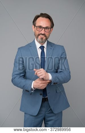 Be Happy. Skilled Bank Worker. Professional In Business. Bearded Man After Hairdresser. Portrait Of