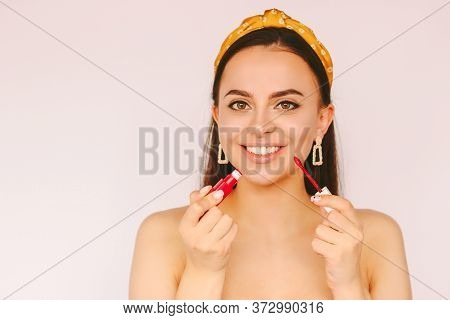 Portrait Attractive Happy Stylish Woman Put On Make Up Lipgloss And Have Fun Isolated White Backgrou