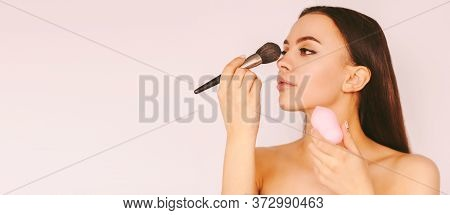 Banner Attractive Young Girl Put Make Up On Face And Smile Isolated White Background. Beautiful Happ