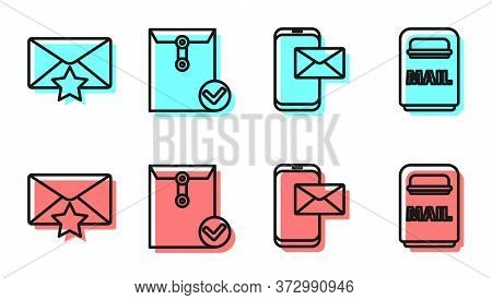 Set Line Mobile And Envelope, Envelope With Star, Envelope And Check Mark And Mail Box Icon. Vector