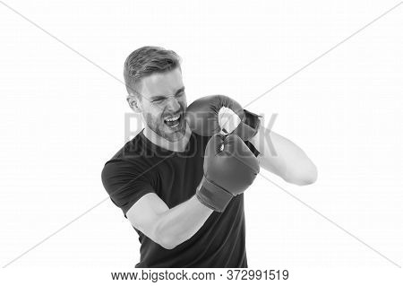 Defence Skill. Boxer Handsome Strict Coach. Sportsman Boxer With Gloves. Boxing Concept. Man Athlete