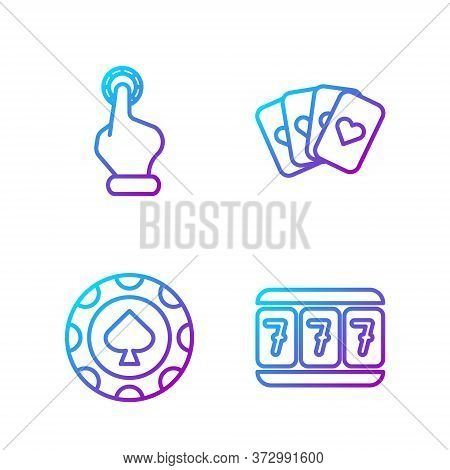 Set Line Slot Machine With Lucky Sevens, Casino Chips, Hand Holding Casino Chips And Deck Of Playing