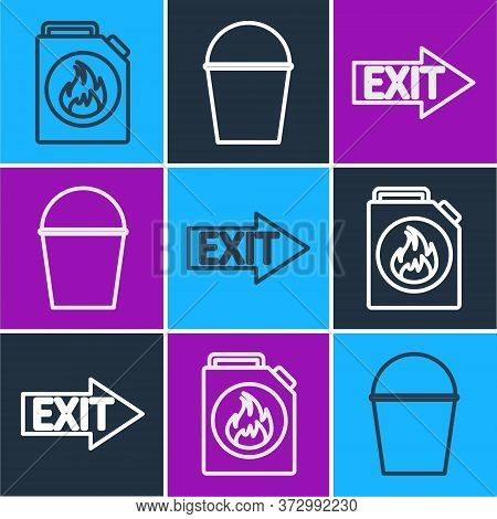 Set Line Canister For Flammable Liquids, Fire Exit And Fire Bucket Icon. Vector