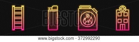 Set Line Canister For Flammable Liquids, Fire Escape, Lighter And Medical Hospital Building. Glowing