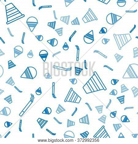 Set Line Cigarette, Traffic Cone And Fire Cone Bucket On Seamless Pattern. Vector