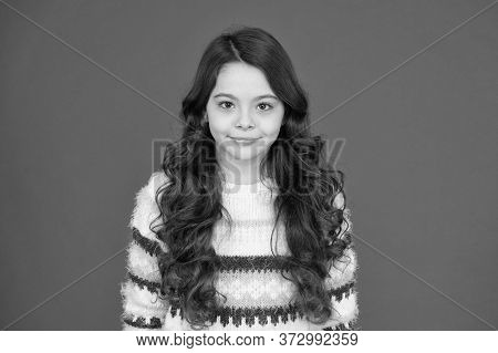 Her Hair Looks Styled In Best Way Possible. Happy Girl With Flowing Hair Red Background. Little Chil