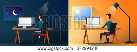 Business Life Or Designer Workaholic Worker In Office Day And Night Scene Vector Illustration.