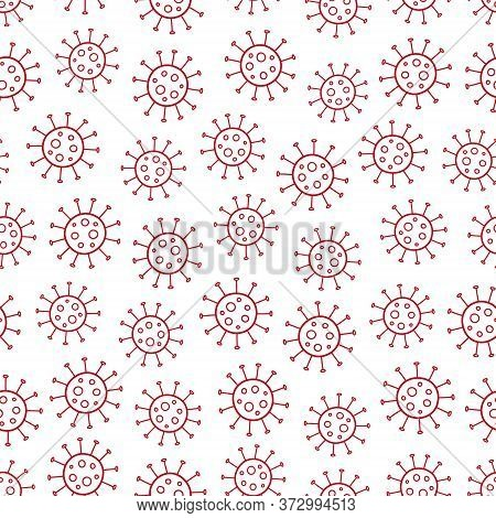 Red Coronavirus Doodle Vector Seamless Pattern, On A White Background. Covid-19 Virus Illustration