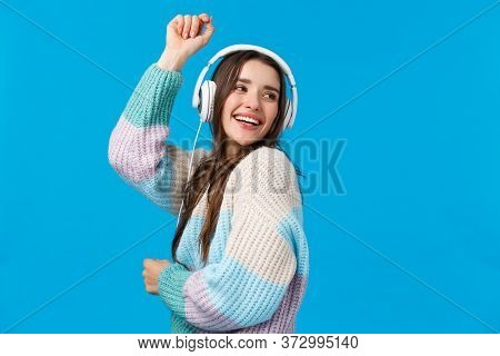 Waist-up Portrait Carefree, Happy Dancing Woman In Headphones, Smiling Raising Hands Up Free And Upb