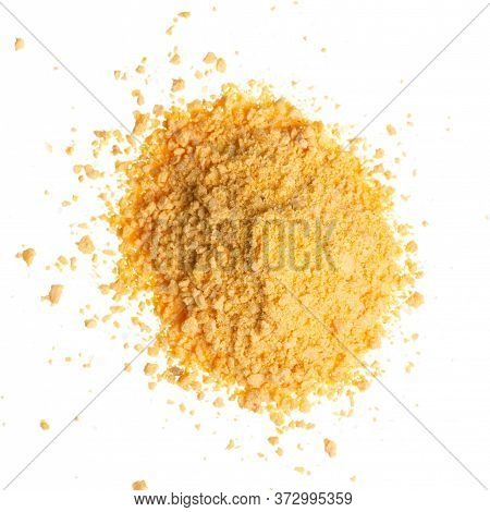 Breadcrumbs On A White Background Isolation, Top View