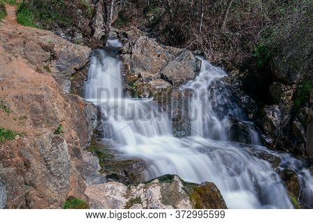 Waterfall At The Hidden Falls Regional Park, Auburn, California, Usa, In The End Of The Winter Of 20