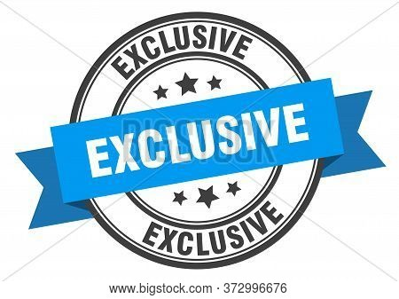 Exclusive Label. Exclusive Blue Round Band Sign.