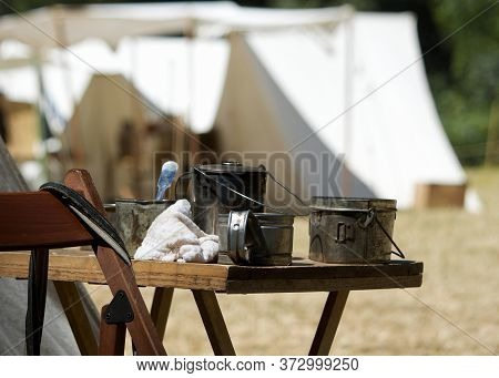 Kitchen Of A Typical Encampment During The Civil War Time At A Civil War Re-enactment In Duncan Mill
