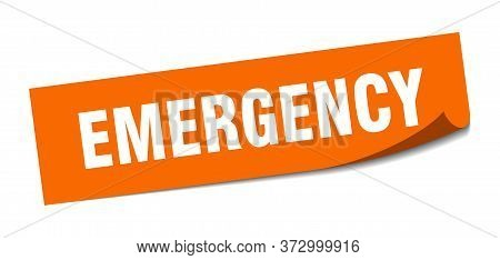 Emergency Sticker. Emergency Square Sign. Emergency. Peeler
