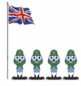 UK soldiers on parade ground isolated on white background poster