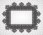 Vintage card with chrochet lace frame and polka dot fabric poster