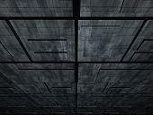 fantasy alien unknown futuristic constructions in dark scene poster