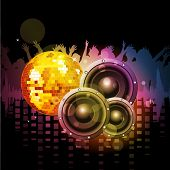 Colorful abstract musical background with loud speakers and  disco ball. EPS 10. poster