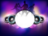 Colorful abstract speakers background with dancing peoples silhouette. EPS 10. poster