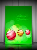 Merry Christmas greeting card or gift card with creative beautiful eve balls. EPS 10. poster