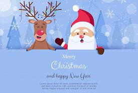 Merry Christmas and Happy New Year Greeting Card. Santa and deer.Christmas. Christmas Vector. Christmas Background. Merry Christmas Vector. Merry Christmas banner. Christmas illustrations. Merry Christmas Holidays. Merry Christmas and Happy New Year Vecto