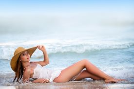 Summer Beautiful Girl. Hot Summer Day. Summer Beautiful Girl. Beautiful Redhead At The Sea. Summer T