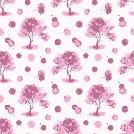 Vector Pink Monochrome Cherry Sakura Tree Seamless Pattern Texture Background