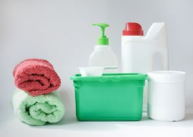 Washing Detergents In Different Forms. Gel Capsules Container, Washing Gel, Stain Remover, Fabric Co