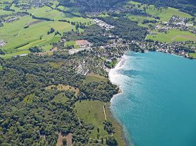 Aerial View Of Lake Annecy In France