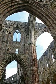 Ruined Walls Of Tintern Abbey In Wales