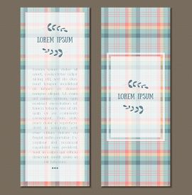 Gentle Flat Lumberjack Plaid Patterned Flyer, Card Set For Business, Party, Shop, Invitation With Fr