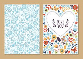 Cute Vintage Floral Cards Set. Heart Shape With Flowers And Leaves. Beautiful Background Cards For G
