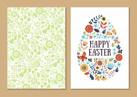 Spring Holiday Card Set. Stylized Easter Egg Shape Isolated On White. Patterned Background. For Gree