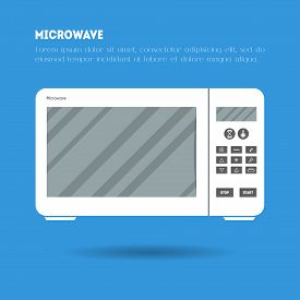 Flat Microwave Icon Illustration. Modern Trendy Design Of Flat Electronic Equipment Illustration On