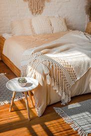 Stylish Light Boho Style Bedroom Interior. Vertical.
