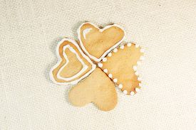 Gingerbread Cookies In The Shape Of Hearts On A Mat. Breakfast For Valentine's Day.