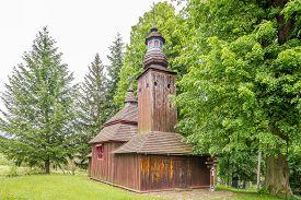 Semetkovce,slovakia - June 9,2020 - View At The Wooden Church Of Saint Michael Archangel In Village
