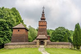 View At The Wooden Church Of St.paraskeva In Village Potoky - Slovakia