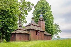 View At The Wooden Church Of Saint Michael Archangel In Village Semetkovce - Slovakia