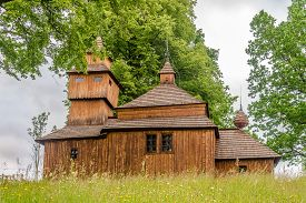View At The Wooden Church Of Encounter Of The Lord With Simeon In Village Kozany, Slovakia