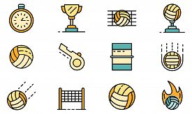 Volleyball Icons Set. Outline Set Of Volleyball Vector Icons Thin Line Color Flat On White